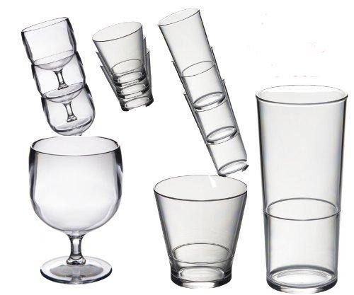 Spezieller Satz von 18 Roltex-Polykarbonat, unzerbrechlicher, widerverwendbarer, europäischer verfertigter Stapeln-Brille. Groß für den Wohnwagen 6 Stapeln-Wein-Brille-Kapazität 200 ml. 6 große Stapeln-Wäschetrockner-Brille, Kapazität 450ml. 6 kleine Stapeln-Brille-Kapazität des Whiskys/Safts 250 ml