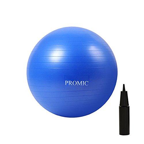 PROMIC Gymnastikball inklusive Pumpe, Anti-Burst-Balance Core Übung Ball Sitzball und Fitness Ball Kostenfrei Pumpe 55cm / 65cm / 75cm, Blau/ Lila/Silber