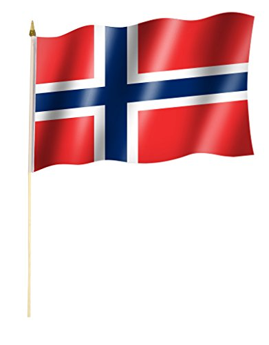 Stockflagge/Stockfahne NORWEGEN Flagge/Fahne ca. 30 x 45 cm mit ca. 60cm Stab/Stock