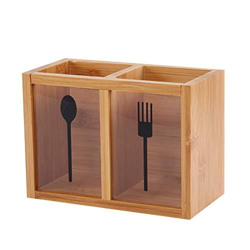 TOPBATHY Bambus-Utensilien-Halter-Teiler Crock Essstäbchen-Organisator-Caddy für Küchenspatelzange Besteck Gabel Löffel Utensil Crock