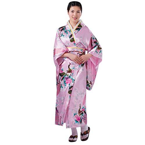 Hofnarr Kostüm Hunde - Lazzboy Frauen Print Kimono Traditionelles Japanisches Kleid Fotografie Cosplay Kostüm Flower Sakura Druck Yukata Japanischen Japanische Anime Nette Maid Schürze(Rosa,One Size)