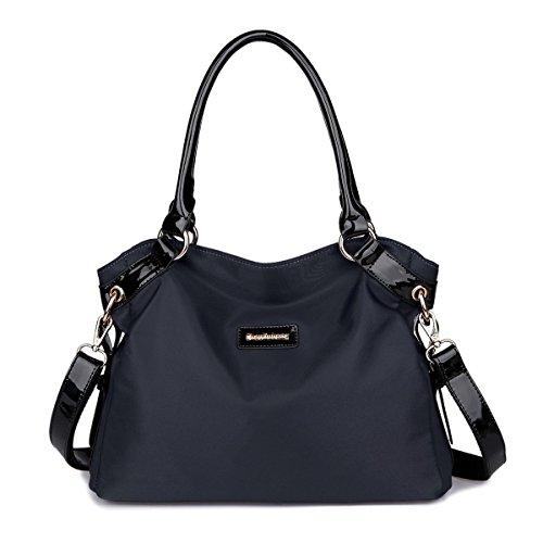 Imagen de eshow bolsa de mujer bolsos de bandolera de hombro para mujeres bolsos grande de mano bolsos desigual de viaje shopper marca moda negrp