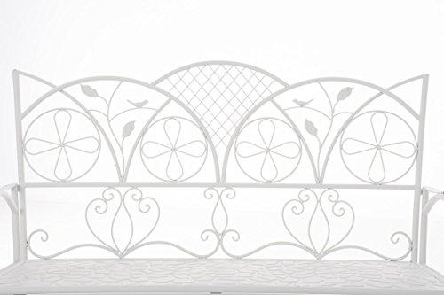 CLP Metall-Gartenbank RIEF, Landhausstil, lackiertes Eisen, ca. 110 x 50 cm, Design nostalgisch antik Weiß - 2