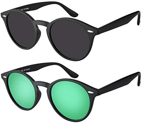 La Optica UV 400 Damen Herren Retro Runde Sonnenbrille Round - Doppelpack Matt Schwarz (Gläser: 1 x Grau, 1 x Grün verspiegelt)
