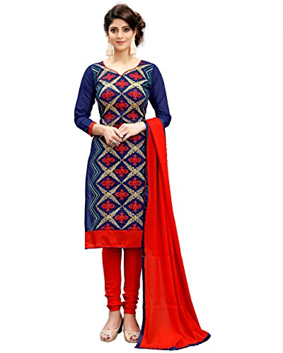 7a420431a8 Shree Impex Women's Women's Cotton Silk Blue And Red A-line Salwar Suit  Dress Material
