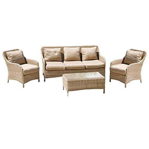 Salottino 4pz wicker tavolino poltrone divano cuscini arredo esterno M0855-15