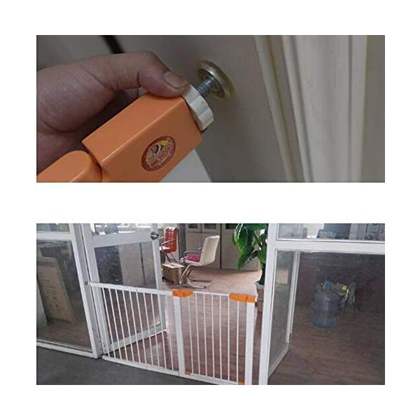 Pet fence safety door guardrail baby pole corridor stairs balcony cat and dog pet isolation gate AA-SS-Safety Door ♥Squeeze and lift handle for easy one handed adult opening ♥Quick-release fittings for removal when not required ♥Includes stop pins for mounting at the top of stairs 4