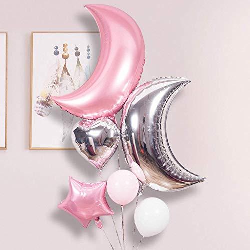Tumao Juego de Globos Lunares de 36 Pulgadas, 6 Piezas Lunares de Plata Rosada y Forma de Estrella en Diferentes tamaños Globo Fiesta de cumpleaños Decoración de la Fiesta de Bienvenida al bebé