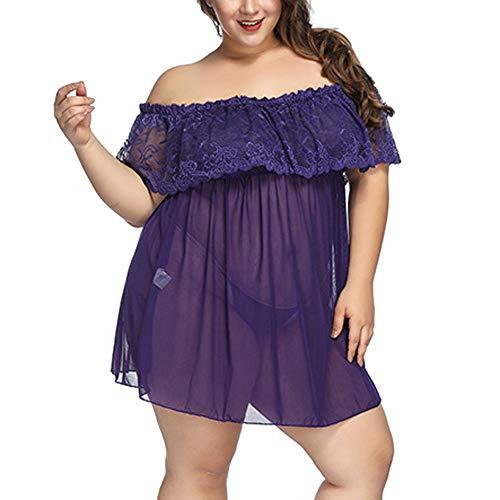 Lencería y Ropa Interior,ZARLLE Mujer Pijama Sexy Vestido de Encaje Floral Pijama Perspectiva Bandage Vestido Clubwear Uniformes Temptation Underwear Lencería Teddy