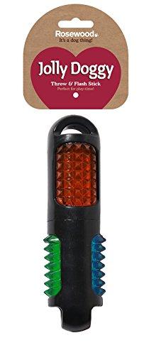 Rosewood 40341 Mehrfarbiger, blinkender Wurf- und Apportierstab - interaktives Hundespielzeug aus TPR-Gummi, Länge: 19cm