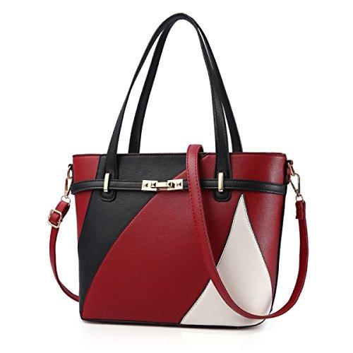 DHFUD Frauen PU Handtasche Umhängetasche Schultertasche Stitching Mode Red