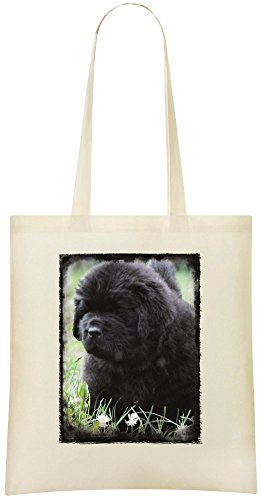 Neufundland-Welpe - Newfoundland Puppy Custom Printed Shopping Grocery Tote Bag 100% Soft Cotton Eco-Friendly & Stylish Handbag For Everyday Use Custom Shoulder Bags -