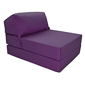 41zUz%2BcZU1L. SS300  - Gilda | Futon Z Chair bed (Jazz Cushion) Outland - Single Clean Coated Polyester Fabric With Bounce Back Fibre Blocks (Indoor And Outdoor) (Water And Stain Resistant)(Purple)