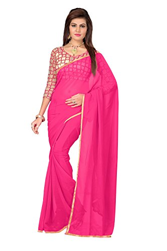 Happy Fashions Women's Pink Color Chifon Saree with Blouse Work Chifon Checks Design
