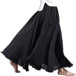 Sankill Estilo bohemio de las mujeres Cintura elástica de lino de algodón largo Maxi Falda