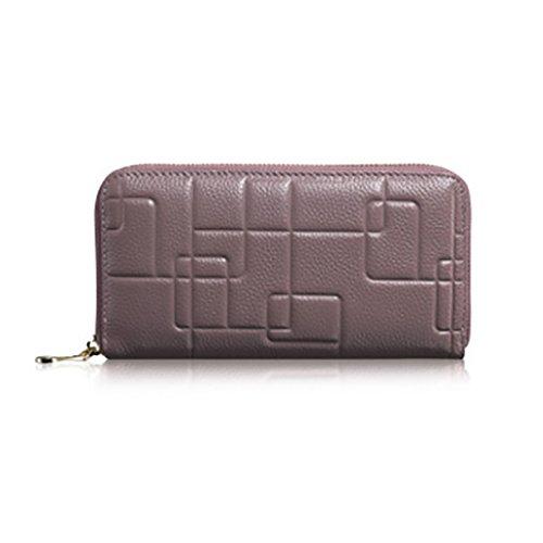 CLOTHES- Sacchetto di borsa dell'inarcamento della borsa del raccoglitore del cuoio della signora della borsa Sezione lunga Semplicità di svago Borsa di multi-card di capacità elevata ( Colore : Viola Viola