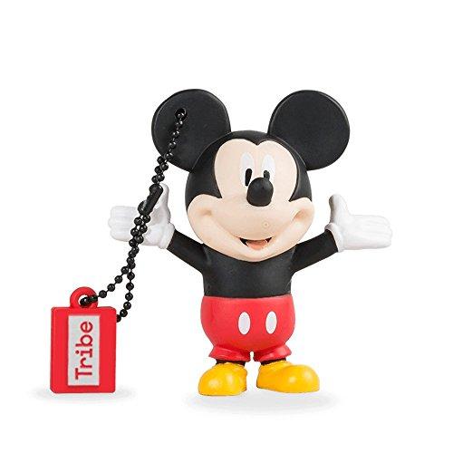 Tribe disney chiavetta usb mickey mouse (topolino) da 32 gb, usb flash drive 2.0, gadget originale con portachiavi
