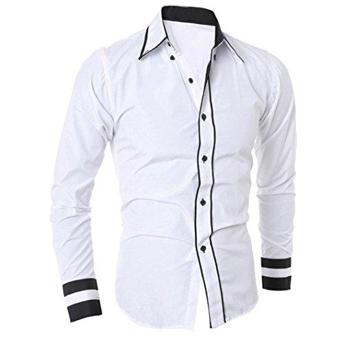 Camiseta Hombres,Xinan Blusa Ropa Hombre de Manga Larga Camisetas (M, Blanco)