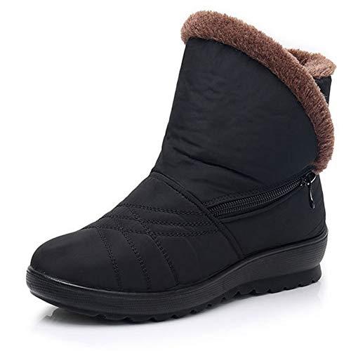DTHJK Botas de Nieve AntideslizantesZapatos de Invierno Cálido Botas Impermeables para Mujeres Zapatos para Madres Cremalleras Botas de algodón Casuales Zapatos sólidos Mujer, A, 39