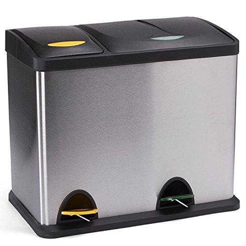 MSV Papelera INOX CLASIFICADORA 18+ 8L, Acero, Cromado, 47x30x40.5 cm