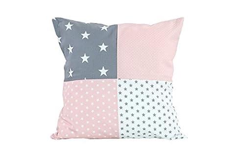 BEBILINO ® Patchwork Kissenbezug & Kissenhülle für Kissen Dekokissen & Zierkissen 40x40 cm (ROSA