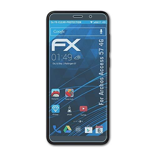 atFolix Schutzfolie kompatibel mit Archos Access 57 4G Folie, ultraklare FX Bildschirmschutzfolie (3X)