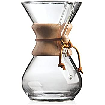 Chemex CHEM6WOOD 6-Cup Wood Neck Coffee Maker - Clear