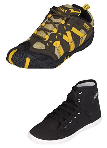 Tempo Men's Combo of Multicolour Running Shoes & Black Sneaker Shoes-10