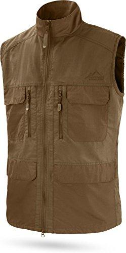 normani Herren Outdoor Sport Weste mit vielen Taschen für Freizeit, Angeln, Jagd oder Safari Tour [XS-5XL] Farbe Braun Größe L