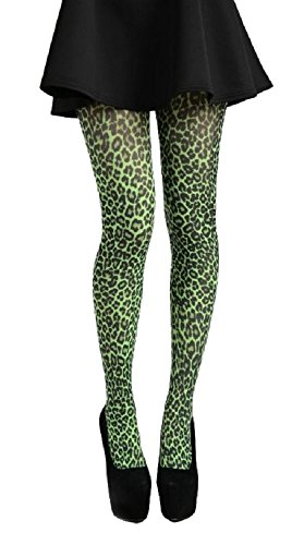 Nylon-Strumpfhose Leopard, Grün (Grün Nylon-strumpfhosen)