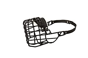 Cage muselière pour chien pour les activités d'hiver avec housse en caoutchouc noir