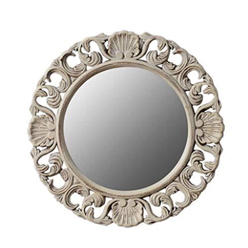 ACZZ Europäische Art beunruhigte Weinlese geschnitzte ovale dekorative Spiegel-Badezimmer-Eitelkeits-Spiegel -
