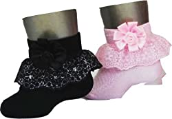 1stbabystore Rosette Baby Girls Frill Socks Pack Of 2, Pink, Black (4-6 Year)