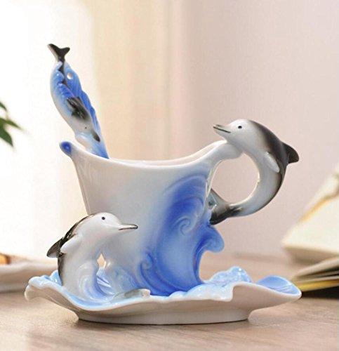 SQL Cerámica delfines solo plato taza de la cuchara Taza de café pintado a mano animales puros Figura Set