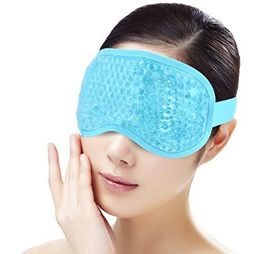 Eis-Schlaf-Augen-Maske für Frauen-Mann,Gel-Korn-Eisbeutel mit weicher Plüsch- Unterstützung, heiße kalte Therapie für geschwollene Augen, dunkle Kreise, Kopfschmerzen, Migräne, Druck-Entlastung [Blau] -