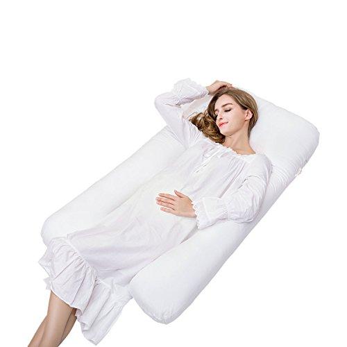 Mutterschaft Schlaf Kissen (Komfortables Schwangerschaftskissen,U-geformtes Kissen, Breett Premium Konturierte Schwangerschaft, Mutterschaft Ganzes Körper-Stützkissen Superweiche U-Kissen mit Reißverschluss-entfernbare Abdeckung)