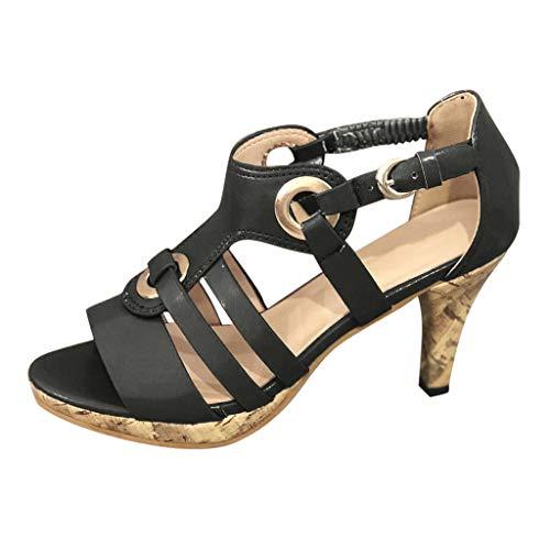 en Mode Schnalle Fischmaul Schuhe Plateau Peep Toe Shoes Booties Stiefel Schuhe Strandsandalen Römersandalen Sommerschuhe Freizeitschuhe Bequeme Touch schwarz, Braun 35-43 ()