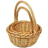 Woodluv Set of 2 Rnd Wicker Hamper Gift Basket with Long Carry Handles, Natural