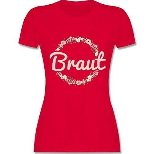 JGA Junggesellinnenabschied - Braut Blumenkranz rosa - L - Rot - L191 - Damen Tshirt und Frauen T-Shirt (Link Crew Kostüme)