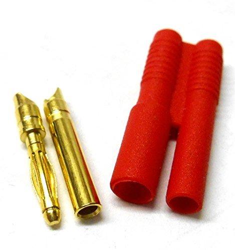 C0112 RC 2.0mm 2mm Connecteur Or avec Protecteur Boîtier Rouge x 1 Masculin / Féminin