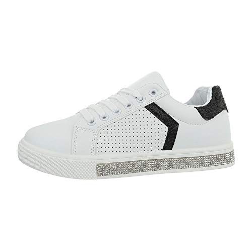 Ital-Design Damenschuhe Freizeitschuhe Sneakers Low Synthetik Weiß Schwarz Gr. 36 (Design Sneaker)
