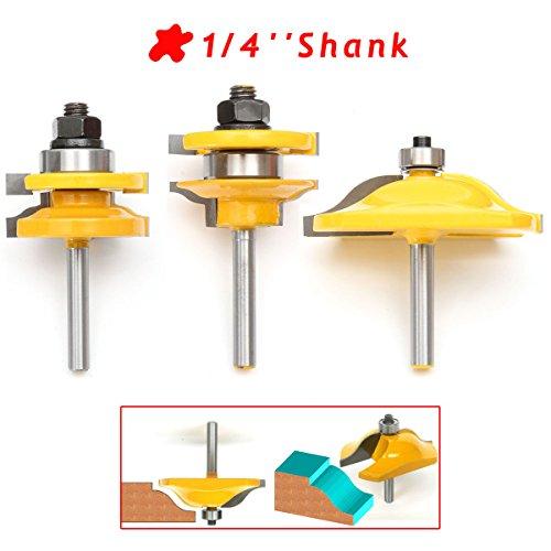 '3pcs 1/4 Rail & stile routeur bit set, essort Shaker pour la transformation du bois, routeur du panneau de Bit Set, carbure dur, jaune + argent