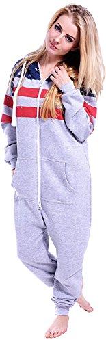 Newfacelook femmes dames imprimé sweat à capuche un zip capuche survêtement H-FLAG