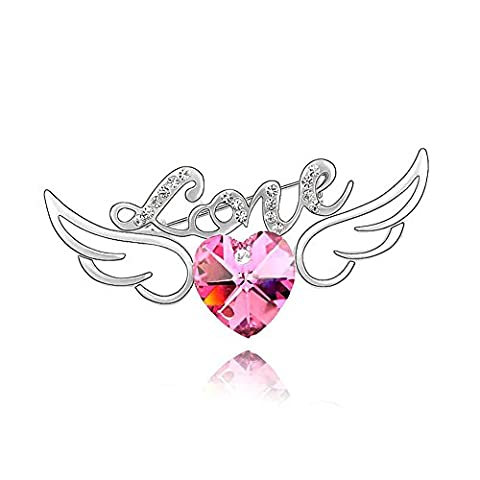 Silver Swarovski Elements Crystal Diamond Accent Heart Shape Angel Wings Brooch Brooches Pins for women,Vintage Jewellery Poppy Remembrance, with a Gift Box---Rose Red, Model: