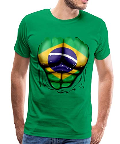 Brasilien Flagge Muskel Männer Premium T-Shirt, M, Kelly Green (Kelly Green Kleider)