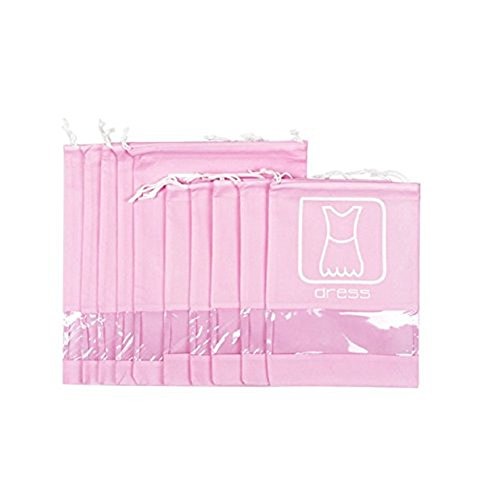 SFGHOUSE Paquet de 10 sacs de poche de voyage avec sac de rangement pour organisateur de rangement avec sac à poussière et fenêtre transparente pour chaussures, vêtements, sous-vêtements, maquillage