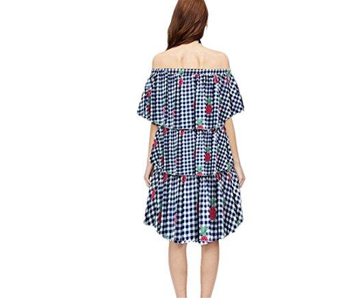 JOTHIN Damen Retro Loose Strandkleid Off Shoulder Sommerkleid Kurzarm Blumendruck Boho Vokuhila Kleider 4