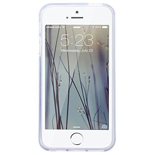 GrandEver iPhone SE / 5S / 5 Glitzer Hülle Silikon Handyhülle Gel TPU Bumper Bunt Mandala Schutzhülle Schwarz Handytasche Anti-Kratzer Rückschale Ultra Dünnen Soft Case Cover - D D