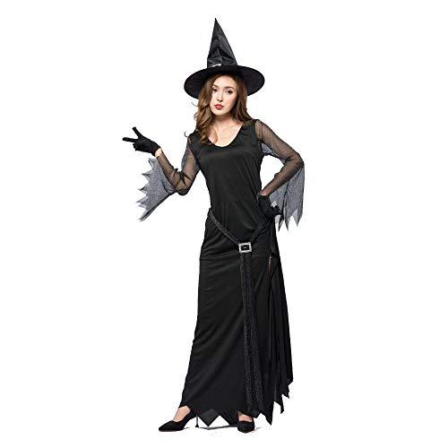 Yunfeng Hexenkostüm Damen Schwarz, Gabel sexy Hexe langes Kleid böse Hexe Kostüm Bühnenperformance Kostüm Halloween