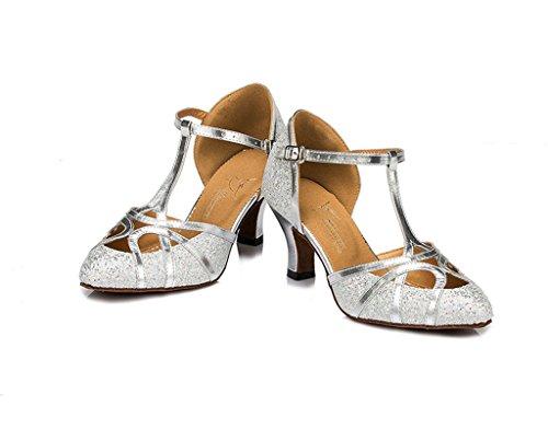 Das Meijili Latina Alta Salto De Moderno Sapatos Ballrom Prata Dança Tango Salsa Mulheres zwv6qw